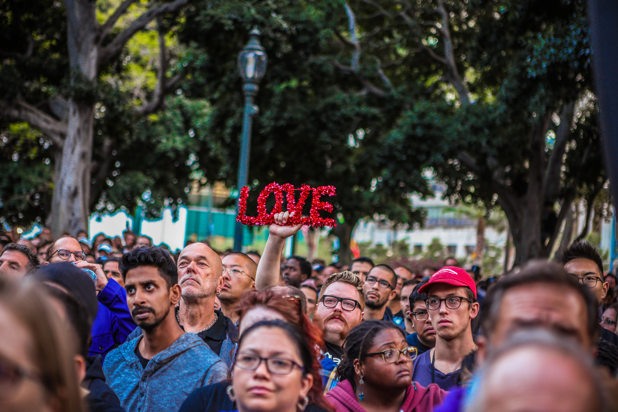 The crowd at a vigil for the victims on the shooting in Orlando on the steps of City Hall
